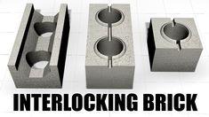 Interlocking Concrete Blocks, Compound House, Brick Construction, Brick Architecture, Brick Block, Concrete Design, Making Machine, Building A House, Building Ideas