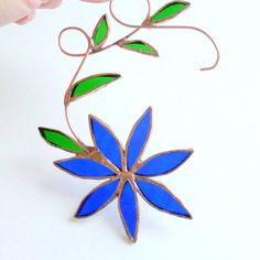 Handmade Stained Glass Blue Flower Sun Catcher by LyonsCreations