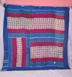 Antique kantha blue pink chevron paisley Queen beige floral decorate doll patch