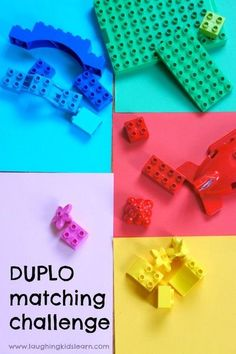 Fun DUPLO LEGO matching activity for toddlers and preschoolers. Great for learning about colours and colors. #DUPLO #LEGO #legoactivities #colormatching #legoactivitiesforkids #duploplay #preschoolers #toddlers #earlyyears #simpleplayideas #sortingactivit Sorting Activities, Kids Learning Activities, Color Activities, Creative Activities, Infant Activities, Creative Play, Kindergarten Activities, Toddler Preschool, Toddler Play