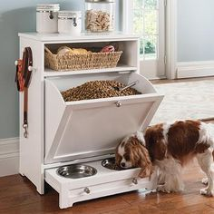 Pet Feeder Station - I like the basket storage for toys, brushes, and nail clippers.