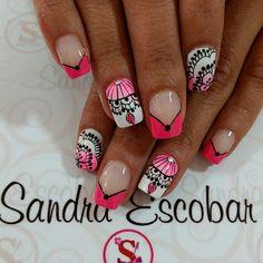 Fingernail Designs, Nail Patterns, French Tip Nails, Stamping Plates, Manicure And Pedicure, Beauty Nails, Nail Colors, Nail Art, Floral