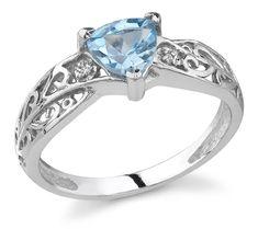 Trillion-Cut Blue Topaz and Diamond Ring, 14K White Gold