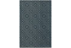 Geometric Rug - Marine Diamonds in navy blue and white.