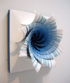 Colorful Paper Craft Ideas, Contemporary Wall Art, Paper Flowers - paper craft ideas for making blue paper flowers for wall decoration Art Mural 3d, 3d Wall Art, 3d Paper Crafts, Arts And Crafts, Paper Wall Art, Architecture Origami, Instalation Art, Art Diy, Ouvrages D'art