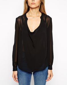 Image 3 of ASOS Top With Detail Front And Drape Neck