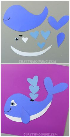 Heart whale valentine craft for kids to make! Cute idea for an art project. (Heart shape animal for valentines day)