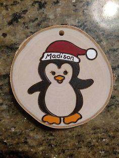 Wood Burned Ornament Santa Penguin white birch wood