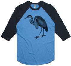 theIndie Great Blue Heron (Black) 3/4-Sleeve Raglan Baseball T-Shirt