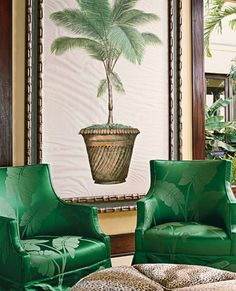 "Carleton Varney Creates a Sophisticated Caribbean-Style Home in St. Croix - ""This green is jungle green,"" Varney says of the palm-leaf-patterned damask—from his fabric l - Tropical Home Decor, Tropical Interior, Tropical Style, Tropical Houses, Coastal Decor, Coastal Entryway, Coastal Rugs, Tropical Colors, Coastal Farmhouse"