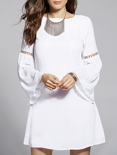 Drawstring Cut Out Jewel Neck Flare Sleeve Dress