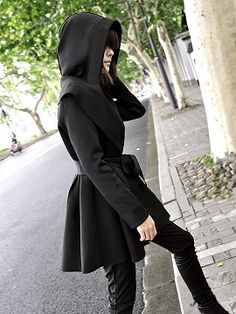 Shop Black Hooded Longline Coat with Belt from choies.com .Free shipping Worldwide.$37.99