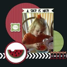 Watermelon scrapbook layout designed with My Digital Studio software from Stampin' Up!