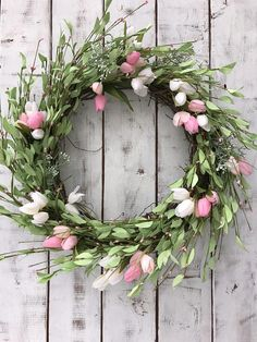This is gorgeous! NEW! Spring Wreath, Easter Wreath, Tulip Wreath, Summer Wreath, Wispy Wreath, Rustic Wreath, Farmhouse Wreath, Spring Decor, Front Door #affiliate