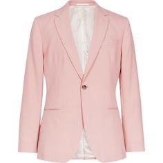 SLIM WOOL BLAZER ($545) ❤ liked on Polyvore featuring outerwear, jackets, blazers, pink jacket, wool jacket, pink wool jacket, woolen jacket and slim fit wool blazer