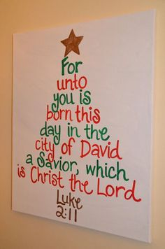 A Savior is Born Christmas Tree Canvas by katieringer. Lets not forget what Christmas is all about Christmas Tree Canvas, Christmas Tree Crafts, Noel Christmas, Christmas Projects, Winter Christmas, Holiday Crafts, Holiday Fun, Holiday Quote, Diy Christmas Decorations For Home