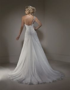 Bridal Gowns: Maggie Sottero A-Line Wedding Dress with Asymmetric Neckline and Dropped Waist Waistline