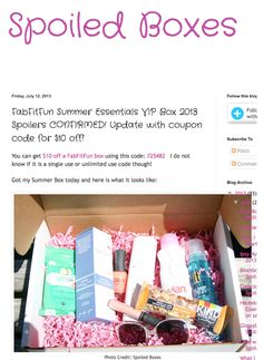 Spoiled boxes reviews the Fab, Fit, Fun box our Surf Spray was featured in!