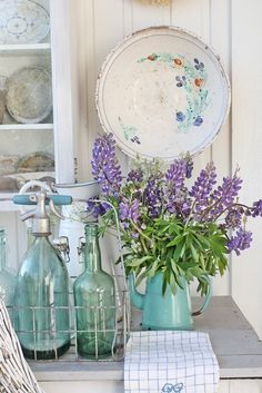 Add seltzer bottles to a room for a vintage, shabby chic look.