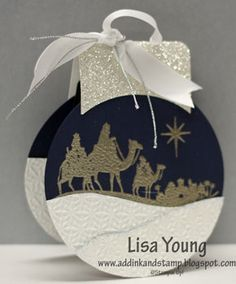 Gift Card Holder - Ornament by genesis - Cards and Paper Crafts at Splitcoaststampers - Glittery Wise Men Gift Card/Ornament…Lisa Young: Add Ink And Stamp – Cards and Paper Crafts at - Homemade Christmas Cards, Stampin Up Christmas, Christmas Cards To Make, Christmas Gift Tags, Xmas Cards, Handmade Christmas, Holiday Cards, Wise Men Gifts, Gift Cards Money