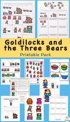 Goldilocks and the Three Bears printables, worksheets, story book, printable puppets, sequencing cards and more for preschool and kindergarten Bear Activities Preschool, Fairy Tale Activities, Fun Activities For Toddlers, Preschool Books, Free Preschool, Preschool Printables, Preschool Worksheets, Book Activities, Phonics Books