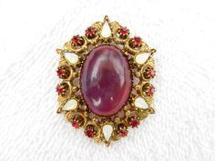 Florenza gold tone brooch Saphiret Jelly Opal moon stones rhinestones AD34 #Florenza
