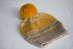 Baby knit hat Pompom baby beanie  Baby beanie by PointMousseMtl