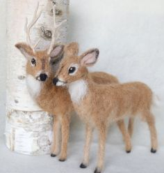 Deer Doe and Buck Needle Felted Pair White Tailed