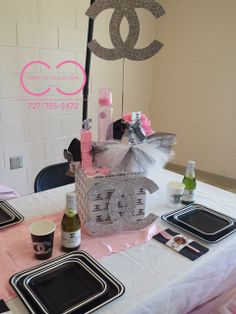 Pretty table at a CHANEL Baby Shower Party!  See more party ideas at CatchMyParty.com!
