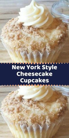 Your family's favorite food and drink ! New York Style Cheesecake Cupcakes When I make these people just RAVE about them! The crumbled graham crackers sprinkled on top add the flavor of a cheesecake base. Cheesecake Cupcakes, Cheesecake Recipes, Cupcake Recipes, Cupcake Cakes, Baking Recipes, Dessert Recipes, Vegan Recipes, Just Desserts, Delicious Desserts