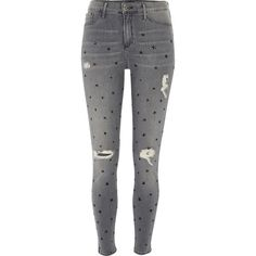 River Island Grey star print distressed Molly jegging ($90) ❤ liked on Polyvore featuring jeans, pants, bottoms and river island