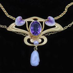 Antique-Nouveau-Pendant-Necklace-Krementz-Enamel-Amethyst-Pearls-14k-Gold-6259
