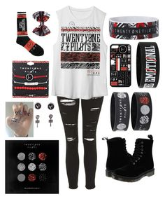 """Twenty-one Pilots"" by annabelle-schmitz ❤ liked on Polyvore featuring Topshop and Dr. Martens"