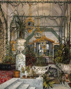 Interiors of the Winter Palace. The Winter Garden of Empress Alexandra Fyodorovna - Konstantin Andreyevich Ukhtomsky - Drawings, Prints and Painting from Hermitage Museum / olokosmon / jardin Russian Architecture, Interior Architecture, Alexandra Feodorovna, Winter Palace, Hermitage Museum, Imperial Russia, Interior Exterior, Beautiful Places, Petersburg Russia
