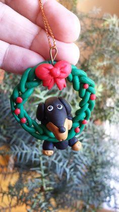 Polymer Clay Ornaments, Dog Ornaments, Polymer Clay Jewelry, Dog Jewelry, Kids Jewelry, Christmas Wreaths, Christmas Gifts, Xmas, Christmas Ornaments