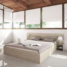 Κρεβάτι CITY2007 διπλό με κομοδίνα και στρώμα, 226x206x78 με στρώμα 160x200. Διαθέτει αποθηκευτικό χώρο. Χρώμα σκούρο Sonoma. Από την Alphab2b.gr Bench, Bedroom, Storage, Furniture, Home Decor, Products, Purse Storage, Decoration Home, Room Decor
