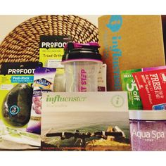 love that my @Influenster @influenstervox #GoVoxBox came with all this healthy stuff in time for our healthy summer! So fun  #playon @The Vitamin Shoppe #nextstep @Blue Diamond Almonds #getyourgoodgoing @profoot_inc #goprofoot @Aqua Spa Bath and Body Products #relaxwithaquaspa @Müller Yogurt #mullerquaker