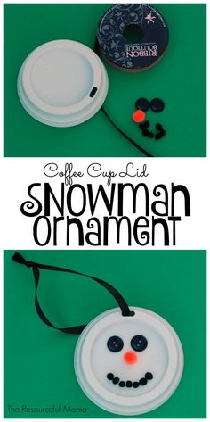 Homemade coffee cup lip snowman Christmas ornament for your kids to make