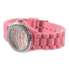 Lovely Pink Zebra Girls Ladies Women's Jelly Silicone Wrist Watch 282