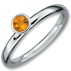 Sterling Silver Stackable Expressions High 4mm Round Citrine Ring