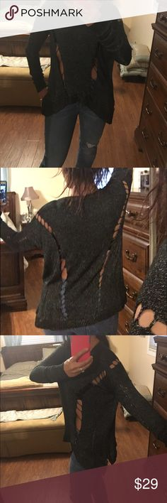 Trendy slashed gray sweater Edgy slashed sweater. Size small. Wear as is or with a contrasting top or tank underneath. Great with jeans or leggings. Black and shimmery silver/gray olive olivia Sweaters