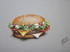 Hyperrealistic drawing of the McFragbite burger, made for of McDonald -Sweden. Mixed media on gray paper by Marcello Barenghi- Italian Art. Realistic Paintings, Realistic Drawings, 3d Drawings, Food Drawing, Drawing Things, Art Things, Drawing Skills, Drawing Techniques, Life Drawing