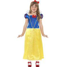 Sneeuwwitje kostuum met korte mouwen. Sprookjes prinses jurk voor meisjes. Deze Sneeuwwitje jurk heeft een lange gele rok, korte mouwen en een hoge kraag.