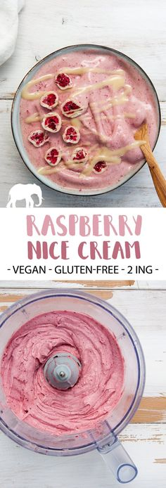 This Raspberry Nice Cream is the perfect treat for the summer! It's vegan, gluten-free and sweetened with fruits. Easy and delicious! Vegan Dessert Recipes, Delicious Vegan Recipes, Whole Food Recipes, Yummy Food, Raspberry Recipes Vegan, Fruit Recipes, Healthy Vegan Snacks, Vegan Treats, Vegan Food