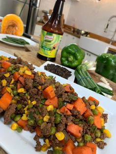 How to Make Beef Picadillo with No Oil - Recipes Frozen Corn, Frozen Peas, Beef Picadillo, Great Dinner Recipes, 30 Minute Meals, Original Recipe, Tossed, Skillet, Ground Beef