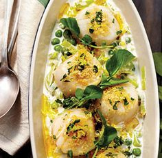 Irish Butter-Poached Scallops with Leeks and Sweet Garden Peas from Cindy's Supper Club by Cindy Pawlcyn via Andrews Andrews Fine Cooking Seafood Dishes, Fish And Seafood, Seafood Recipes, Seafood Meals, Fish Dishes, Pea Recipes, Irish Recipes, Savoury Recipes, Garden Peas Recipe