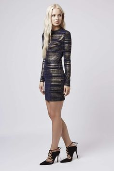 Photo 2 of Striped High Neck Bodycon Dress