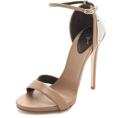 Giuseppe Zanotti Ankle Strap Sandals with Metal Detail (1.675 BRL) ❤ liked on Polyvore featuring shoes, sandals, heels, giuseppe zanotti, natural, strappy leather sandals, strap sandals, heeled sandals, high heels sandals and ankle strap sandals