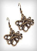 Antiqued Brass Octopus Earrings at PLASTICLAND