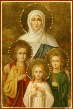 Saints Faith, Hope, Love and their mother Sophia icon with applied flowers Religious Images, Religious Icons, Religious Art, Russian Icons, Byzantine Icons, Madonna And Child, Art Icon, Catholic Saints, Sacred Art